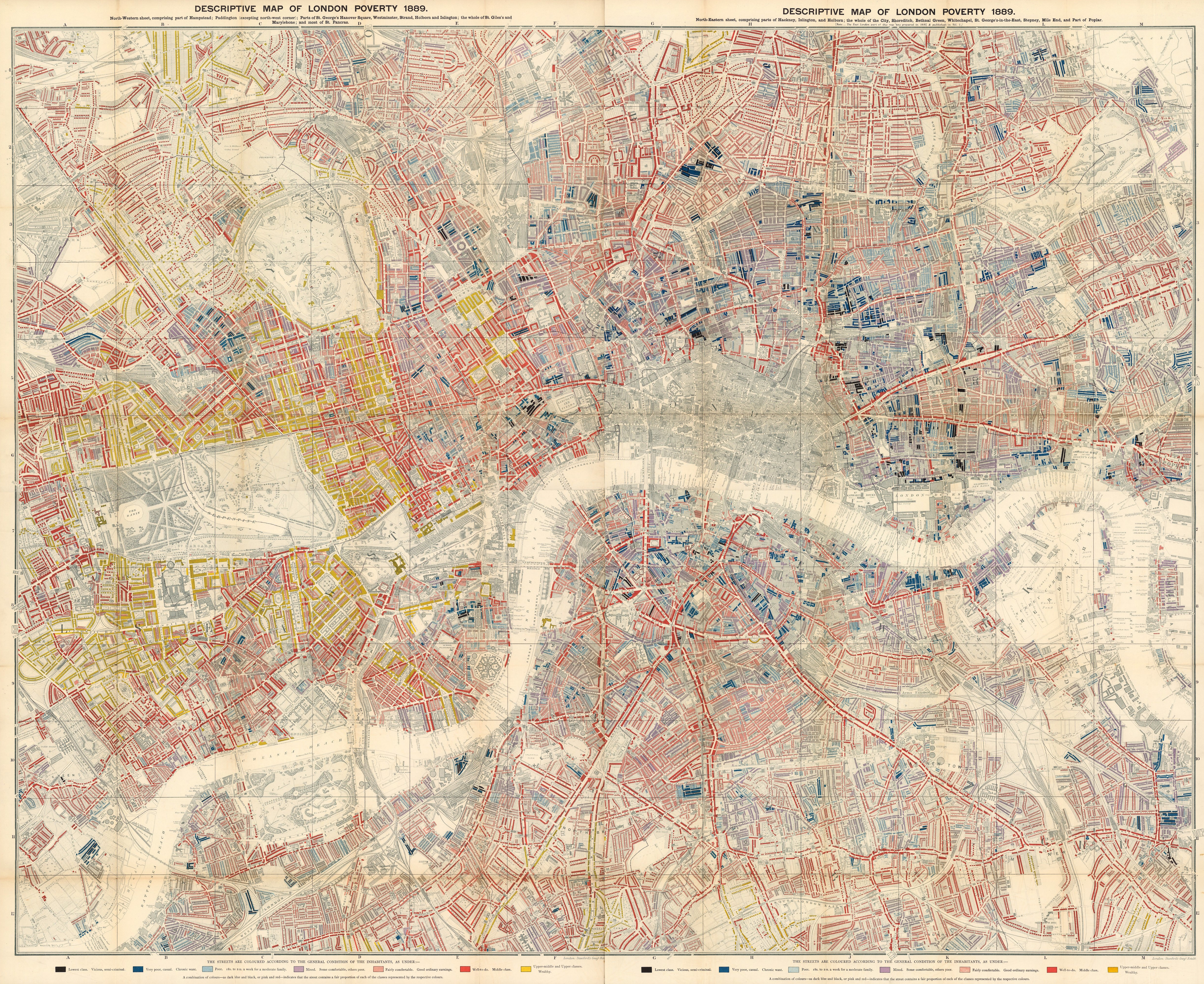 London Atlas Map.Descriptive Map Of London Poverty By Charles Booth 135ca Atlas