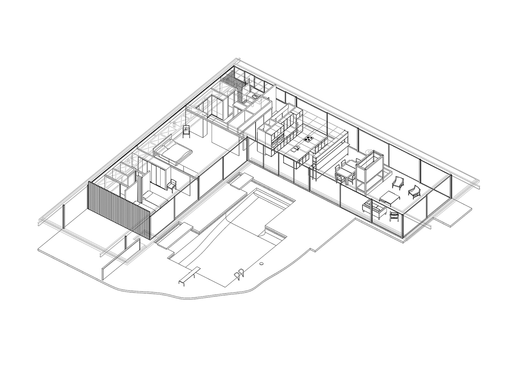 Stahl House by Pierre Koenig (606AR) — Atlas of Places on shaped kitchen, u-shaped courtyard home plans, shaped building, shaped tile, shaped swimming pools, pie-shaped lot home plans,