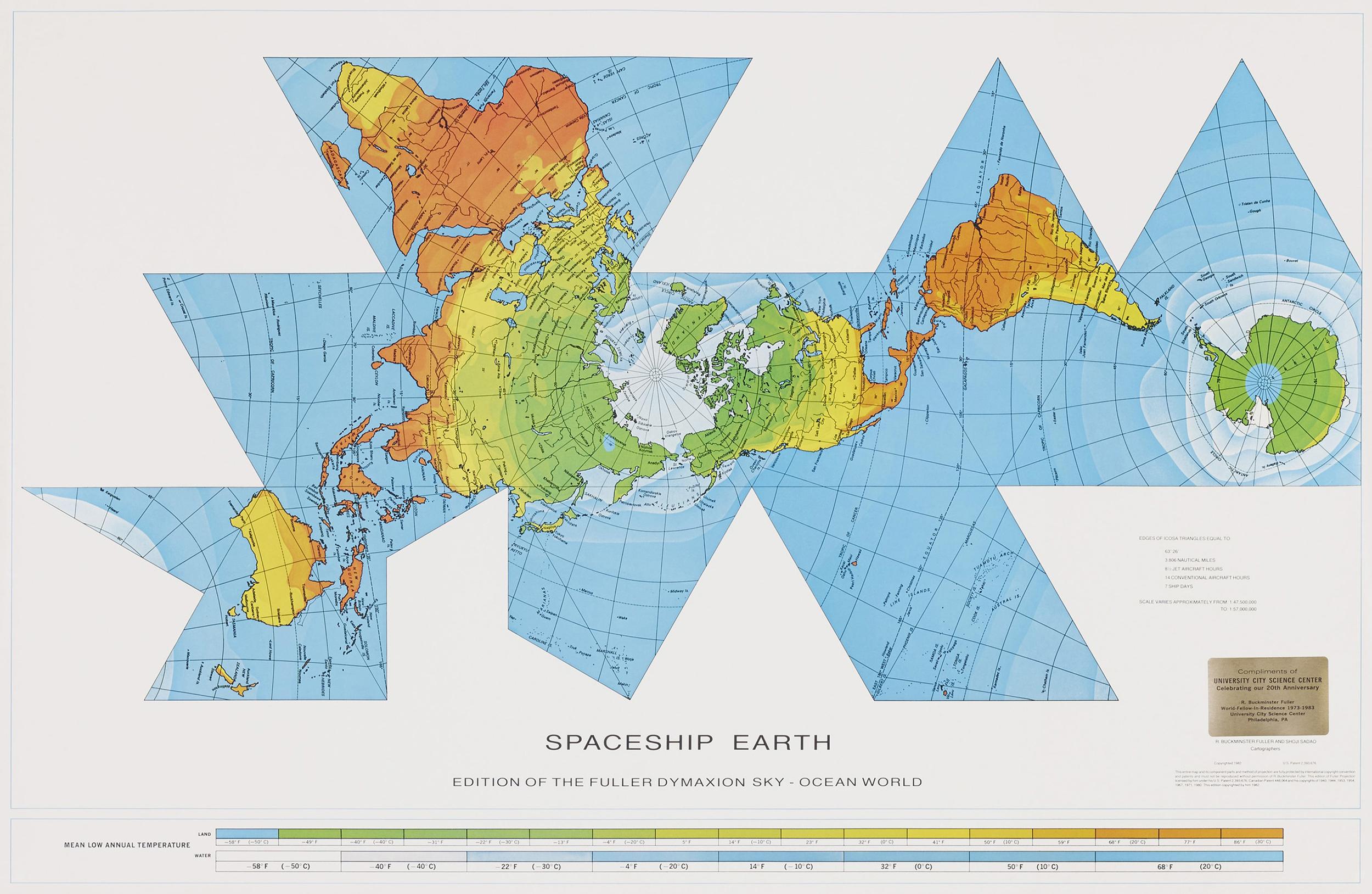 World Map 1980 Dymaxion World Map by Richard Buckminster Fuller (327CA) — Atlas