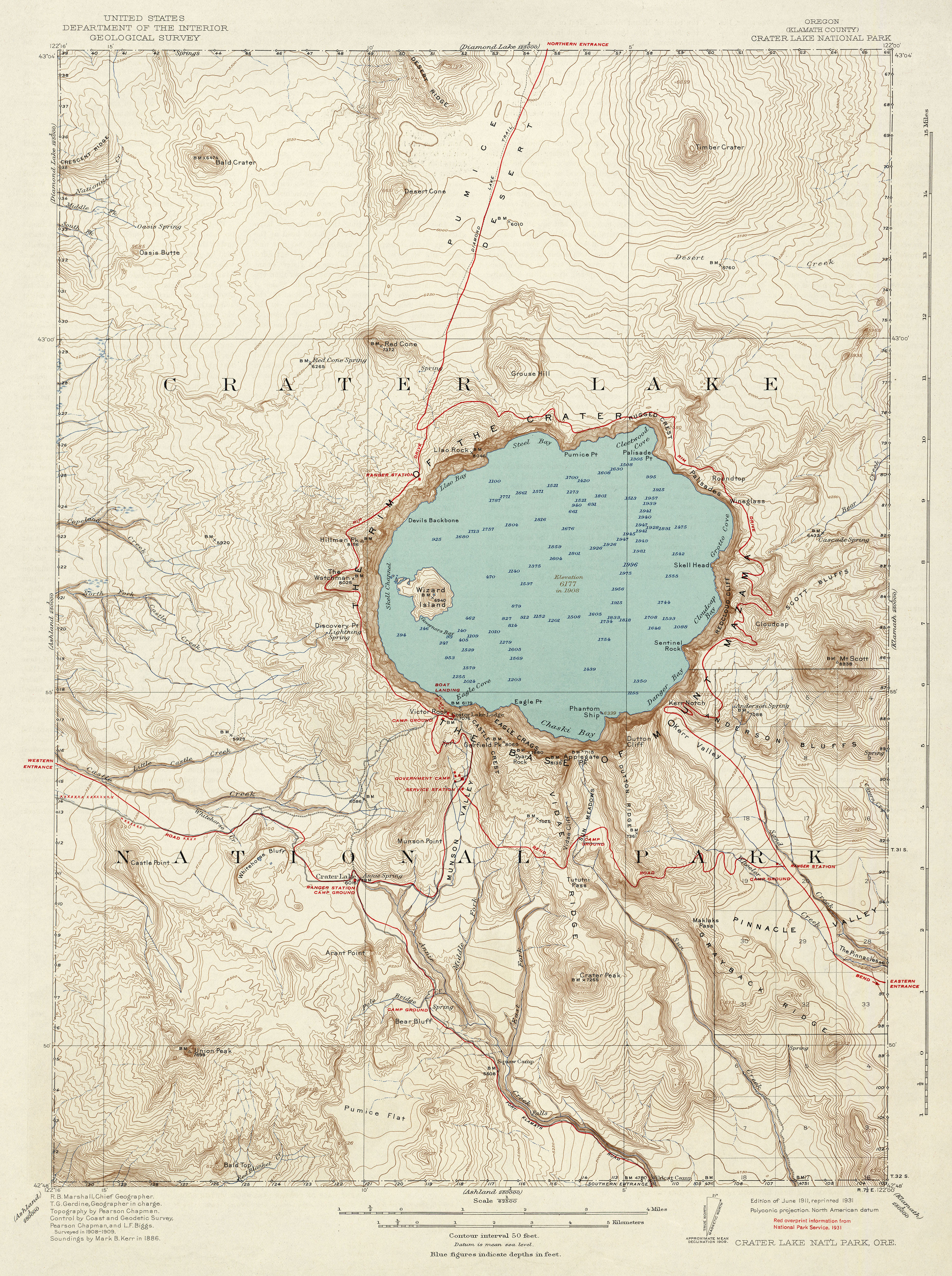 crater lake on a map Crater Lake By Usgs 434ca Atlas Of Places crater lake on a map