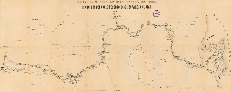 Plano grl. del Valle del Ebro desde Zaragoza al Mar