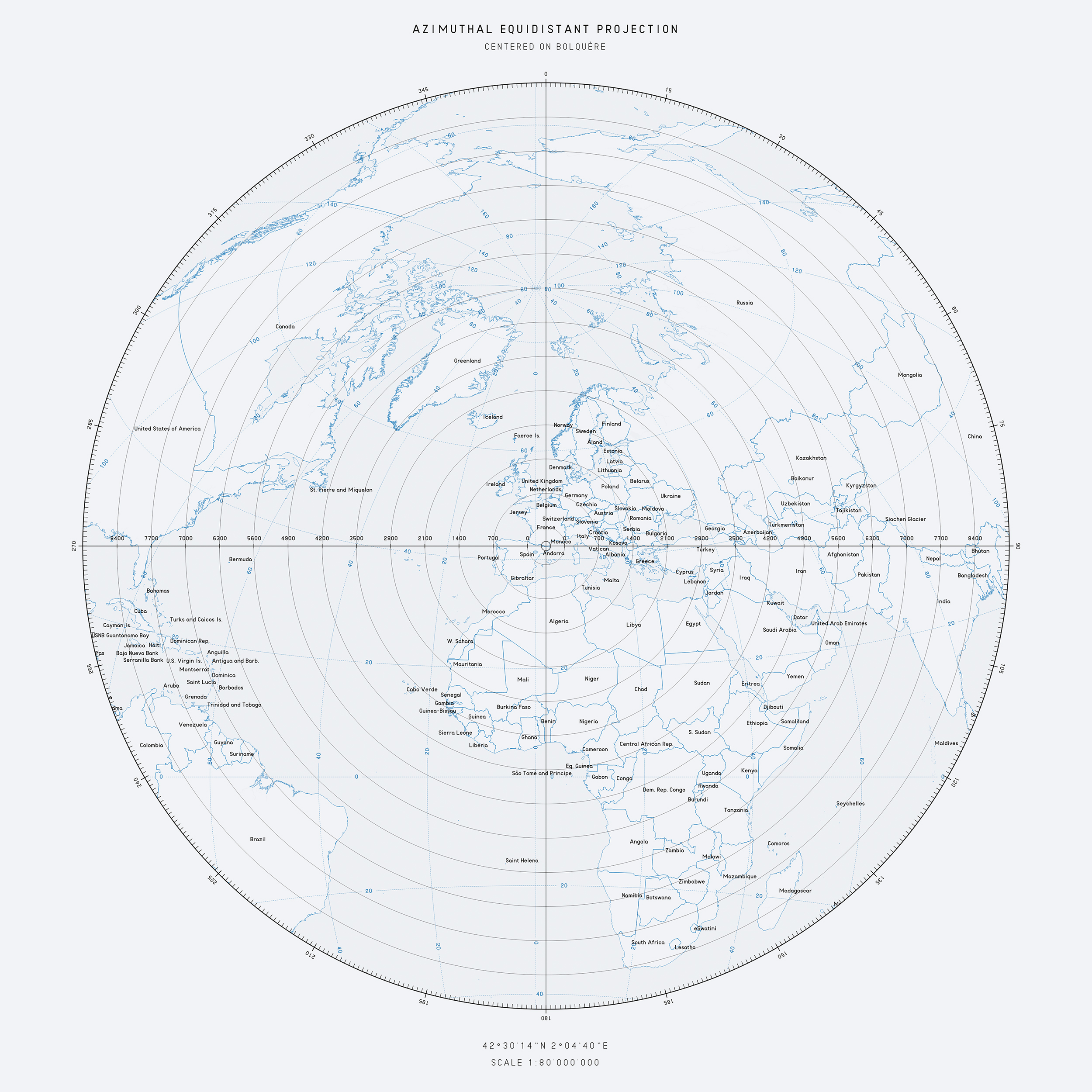 Azimuthal Equidistant Map