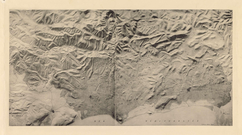 Carte viticole en relief de l'Hérault