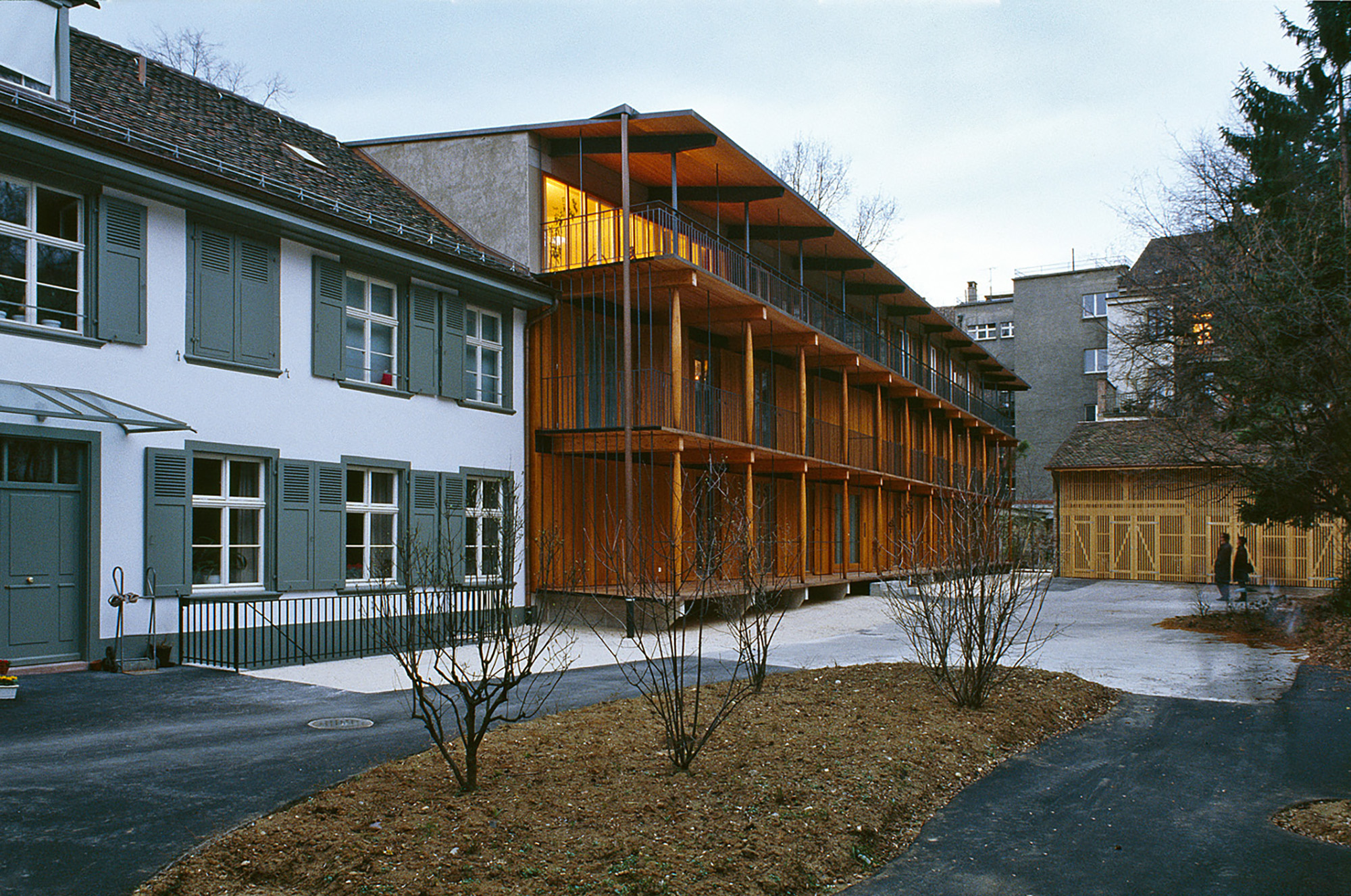 Apartment Building along a Party Wall
