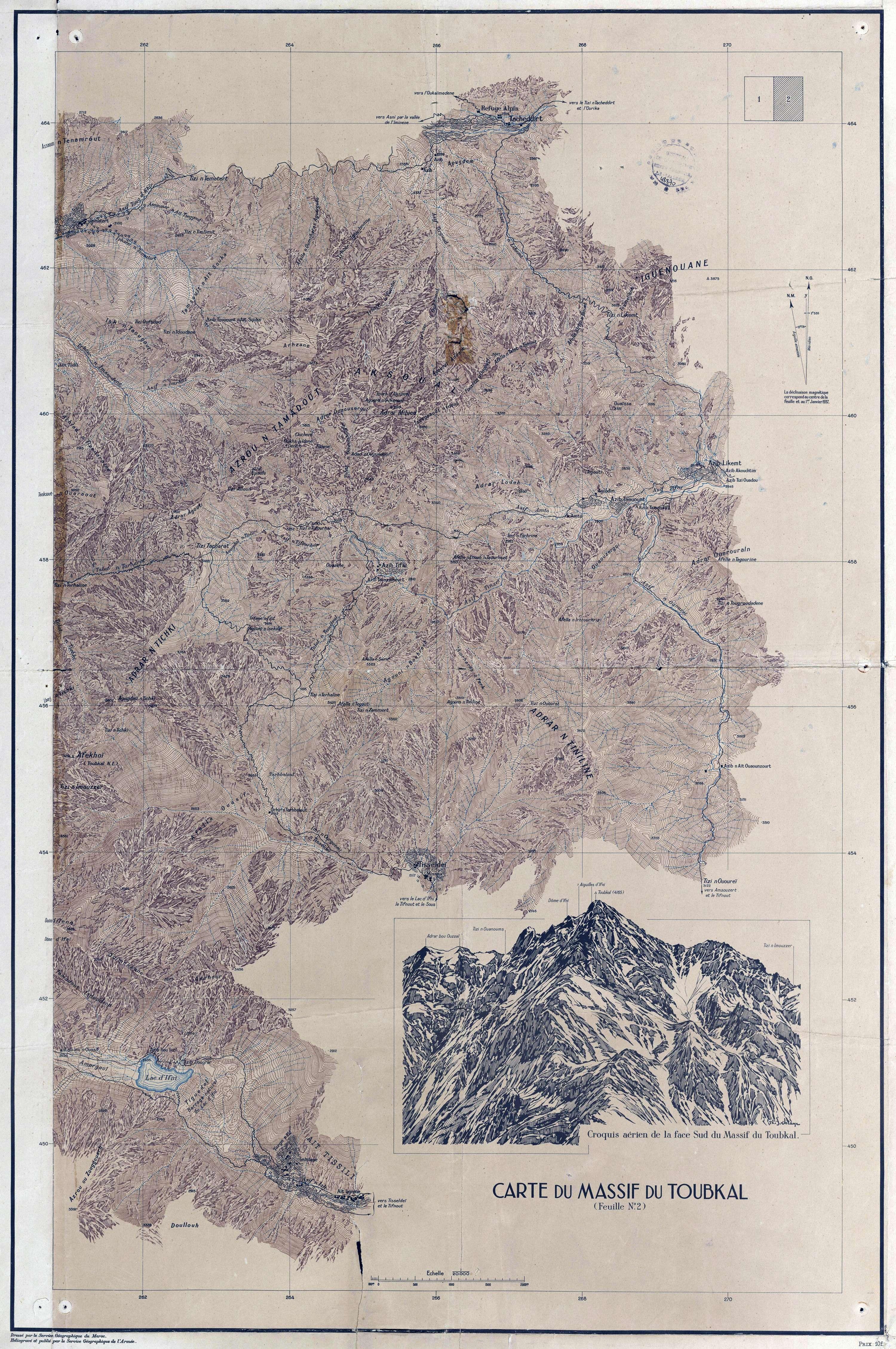Carte du massif du Toubkal